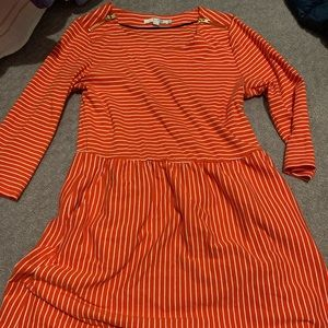 Orange and white striped Boden dress! 3/4 sleeves